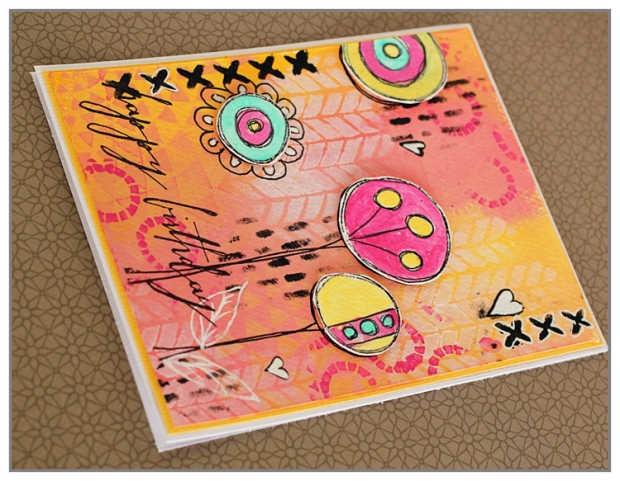 Yasmina Tinsang Mixed Media birthday card with TCW stencils