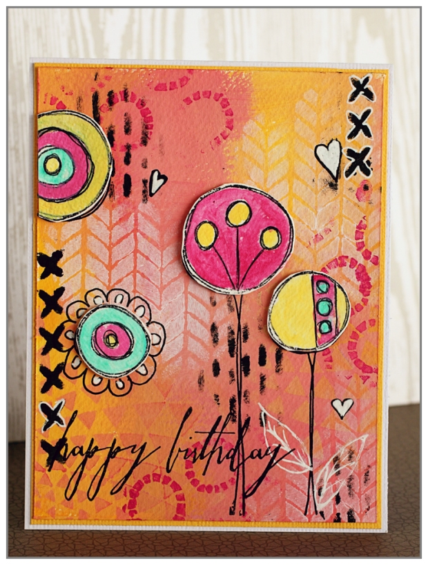 Yasmina Tinsang Birthday Card using TCW 6x6 stencils