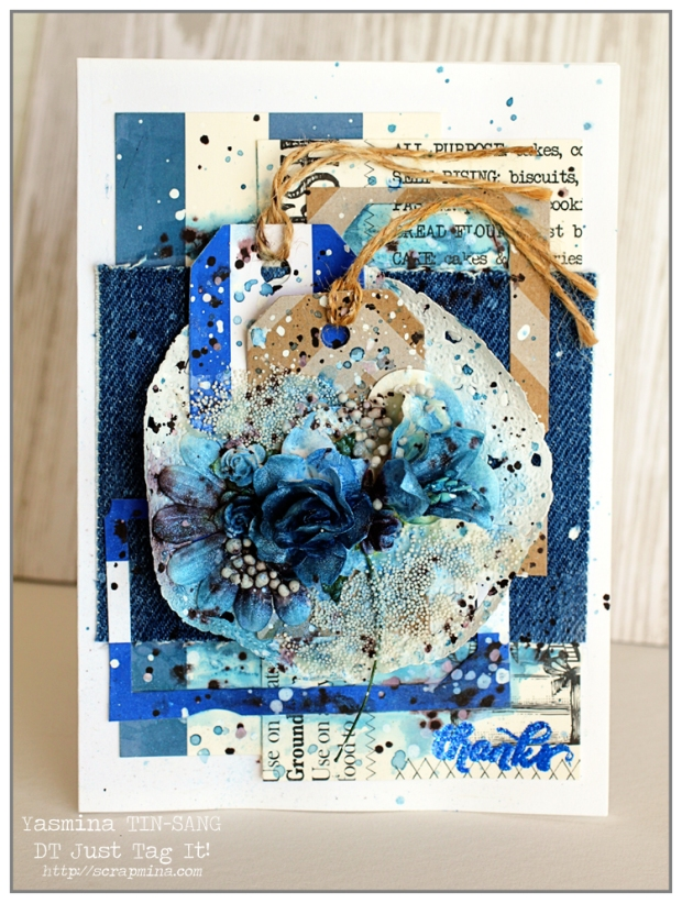"Mixed Media Card ""Thanks"" for Just Tag It! DT"