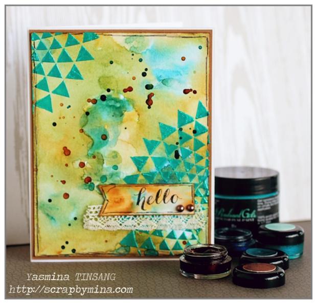 Mixed Media Card with ColourArte products (Twinkling H2Os and Radiant Gels)