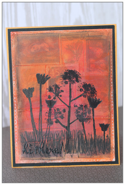 "Mixed Media Card ""Sunset"" for my DT The Mixed Media Card Challenge using gelatos"