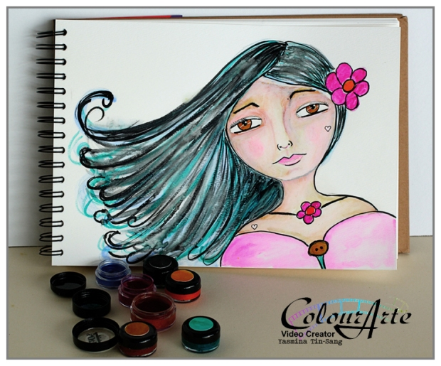 Painting a girl with Twinkling H2Os for ColourArte with a video tutorial