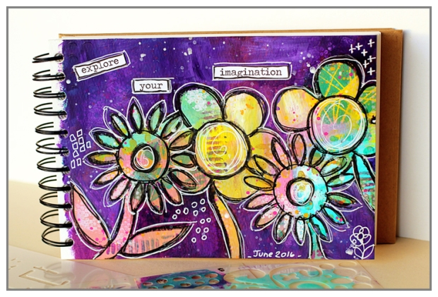 Art Journal by Yasmina TINSANG with TCW stencils and Acrylic Paint