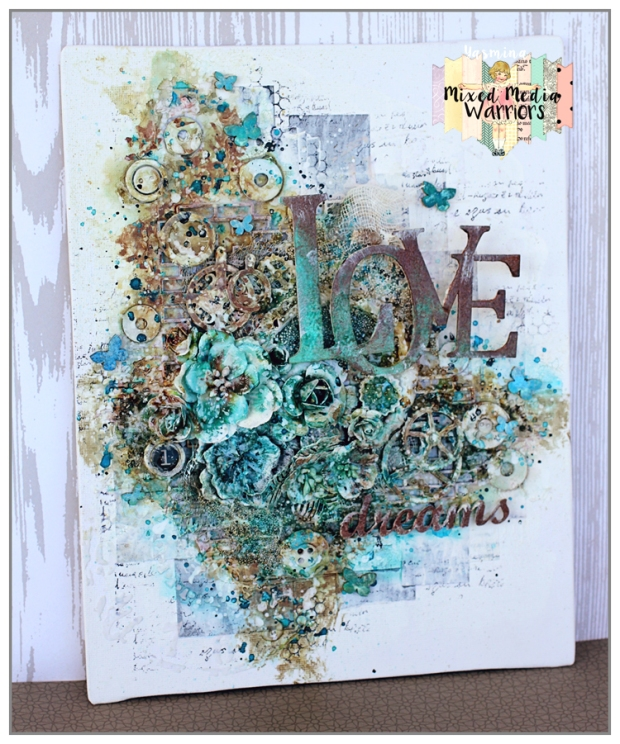 "Mixed Media Canvas ""Love"" for DT Mixed Media Warriors"