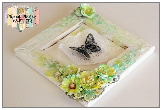 Mixed Media canvas with white flowers from Wild Orchid Crafts