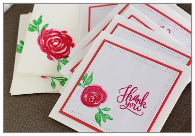 Set of Thank You Card using The Misti Tool and Papertrey Ink stamps