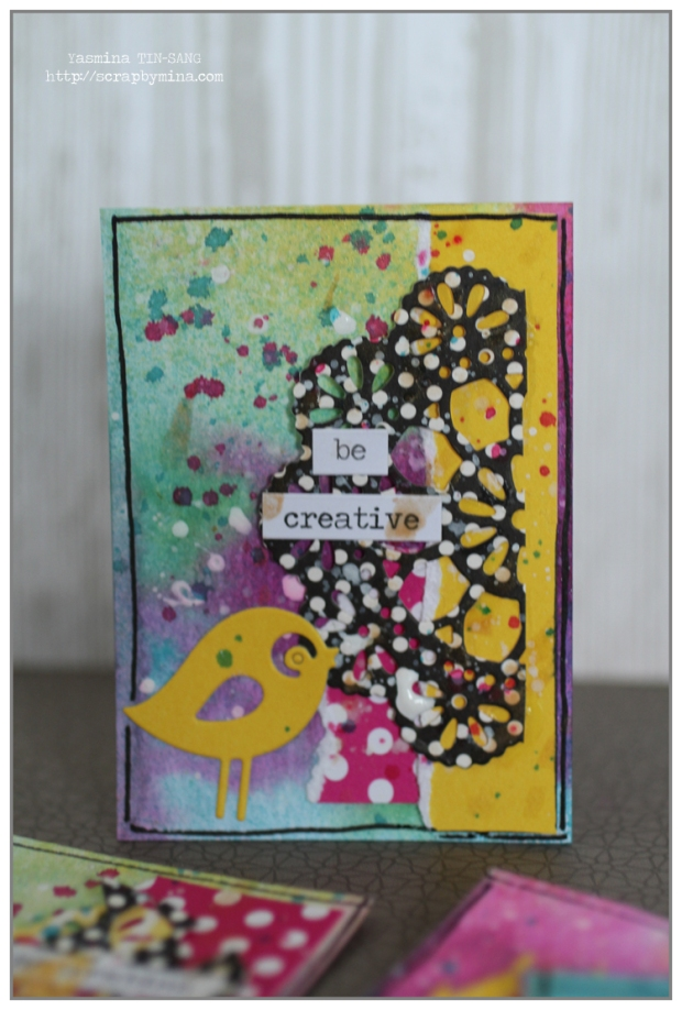 ATC by Yasmina TINSANG with Chalkboard Mist (Tattered Angels) and Canvas Corp papers
