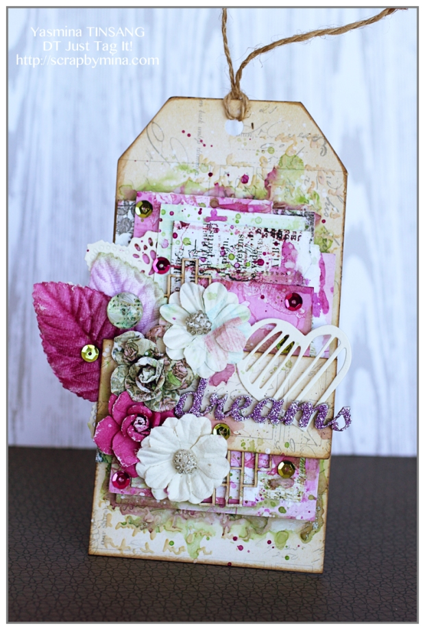 DT Just Tag It! Mixed Media tag with Prima papers, flowers...