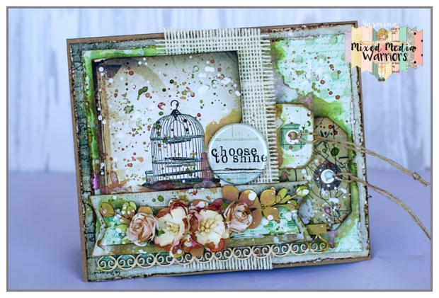 MM card with 7 Dots Studio papers (Lost And Found), chipboard from SnipArt and Twinklong H2Os from COlourArte