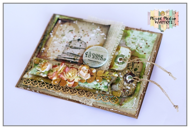 Mixed Media card for Inspiration at Mixed Media Warriors Blog