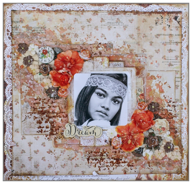 Mixed Media layout with Prima Marketing papers, Primary Elements and Radiant Gels from ColourArte