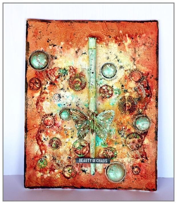 Mixed Media Canvas using Finnabair products (Prima) and Primary Elements from oOlourArte