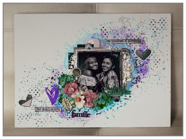 Mixed Media canvas with 7DOts Studio papers, flowers from Petaloo and Twinkling H2Os from ColourArte