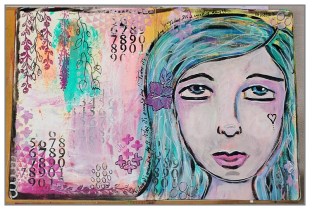 Art journal page with acrylic paint by @mina974