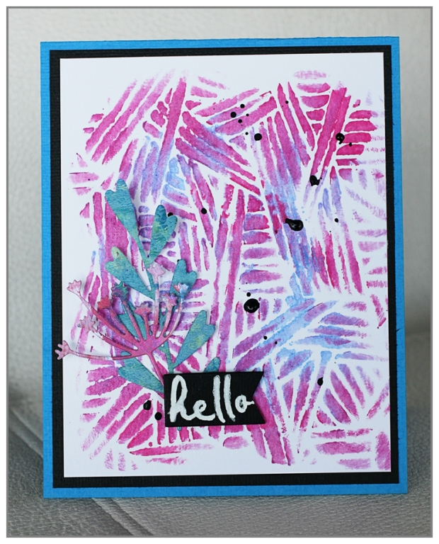 Simple card by @mina974 using TCW 600s Overlapping Stripes and Silks Acrylic Glaze from ColourArte