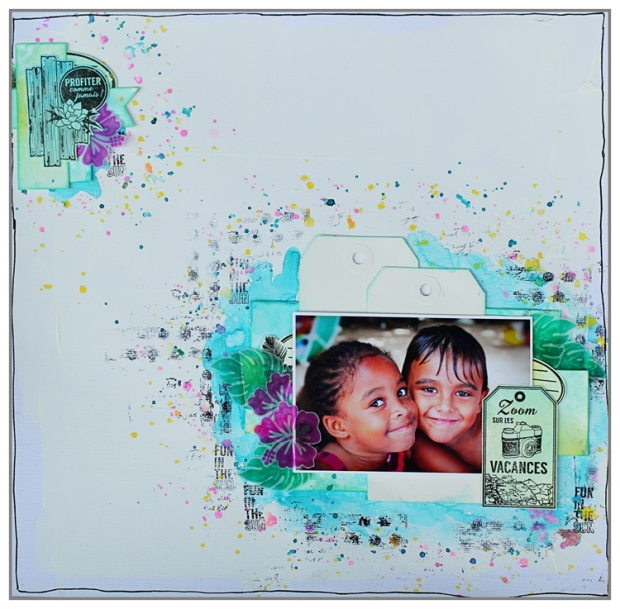 Layout freestyle by @mina974 using Glimmer Mist and Florilèges Design Stamps