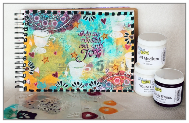 Art Journal page using the new mediums and stencils from The Crafter's Workshop