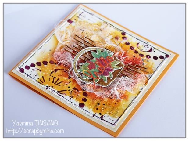 The Mixed Media Card Challenge #27 - Harvest basket Theme