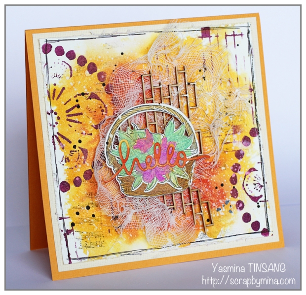 Mixed Media Card with fall colors using Stencils from The Crafter's Workshop and Primary Elements from ColourArte