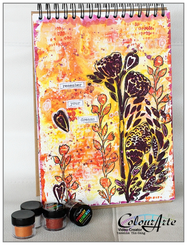 Art Journal page using Primary Elements (Ste FRP404 by France Papillon) for ColourArte Design Team Video