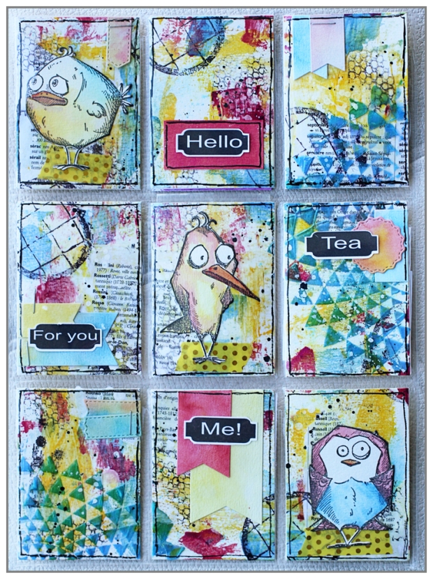 Mixed Media Pocket Letter by @mina974 using COlourArte products and Bird crazy by TIm Holtz