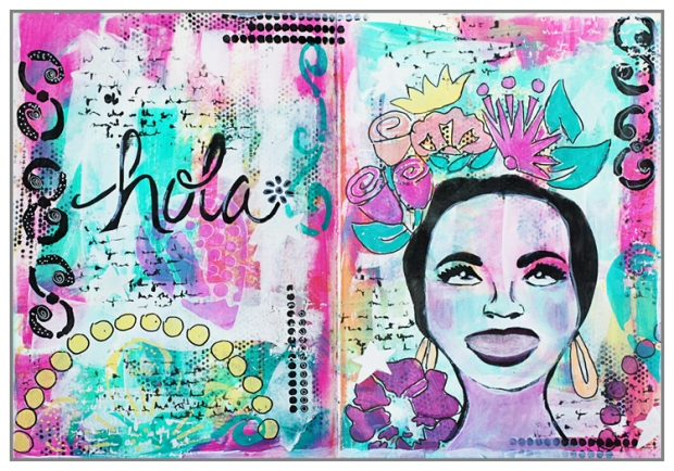 Mixed Media Art Journal using the last stencils from The Crafters Workshop (Summer 2016 release)