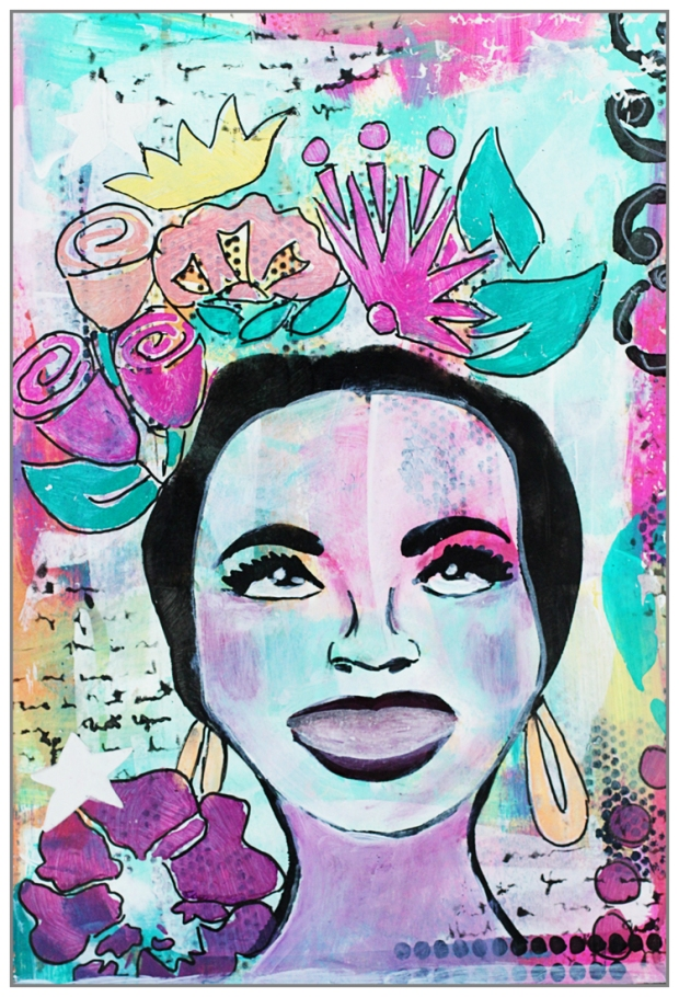Stencil TCW648 - Chica Florita by The Crafty Chica