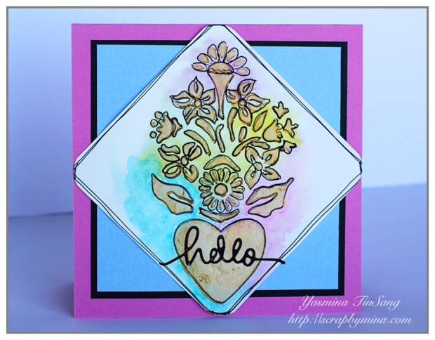 Hello card using TCW stencil and gold gesso from TCW
