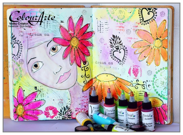 Mixed Media Art Journal for ColourArte using Twinkling H2Os and Vivid Ultra Metallics. I have a video tutorial on my YouTube Channel