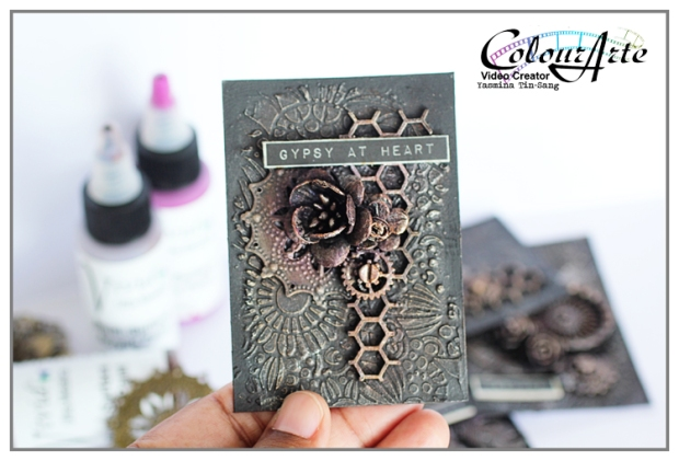 Steampunk ATC with Vivid Ultra Metallics (ColourArte) and Prima's products