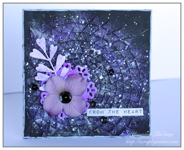 The Mixed Media Card Challenge #28 - Black and Purple - I used TCW 559s Triangle Sunburst from The Crafter's Workshop and Vivid Ultra Metallics from ColourArte