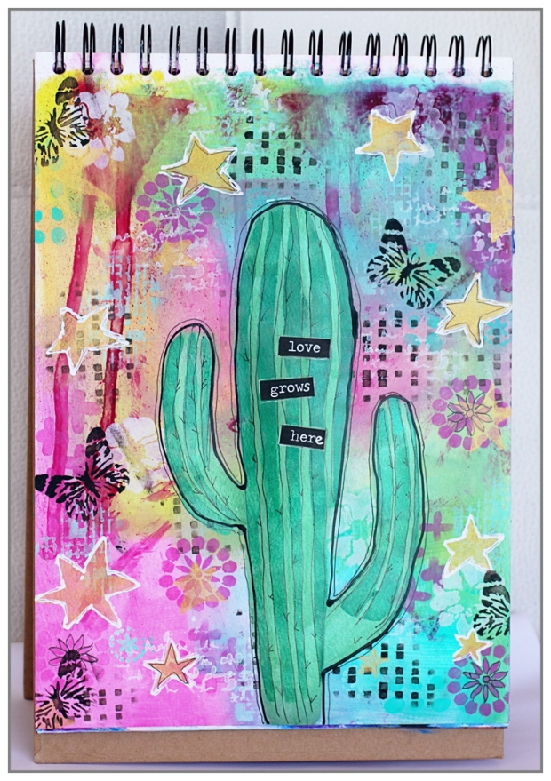 Art Journal for my DT The Crafter's Workshop using acrylic paint, TCW stencils and Silks Acrylic Glaze