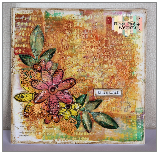 Mixed Media canvas using ColourArte and Carabelle Studio products for the october challenge at Mixed Media Warriors
