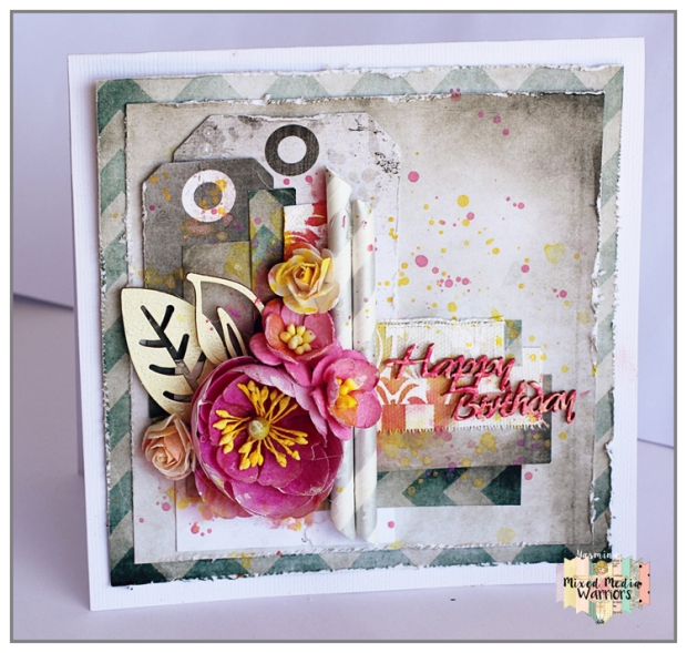 Mixed Media card with 7Dots Studio papers (Homegrown collection)