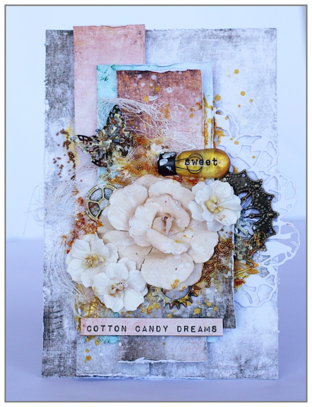 Mixed Media Card for november challenge at Scrapki...
