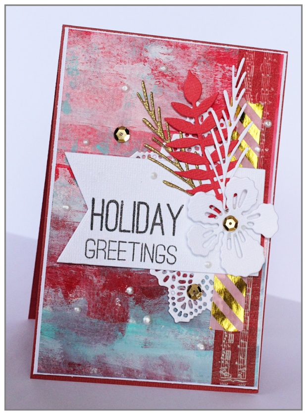 Mixed media Christmas card by Yasmina