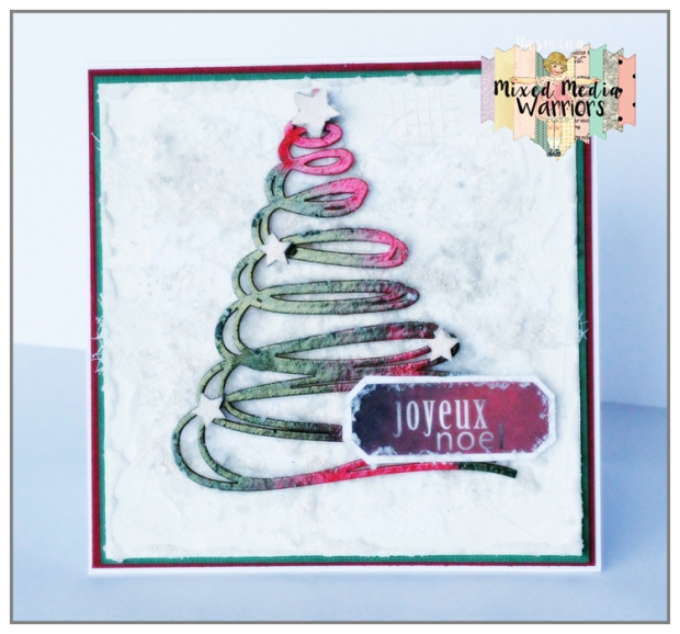 Mixed Media Christmas card with classic colors (red, green and white)