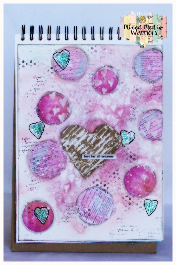 Art journal page for the 13th challenge at Mixed Media Warriors