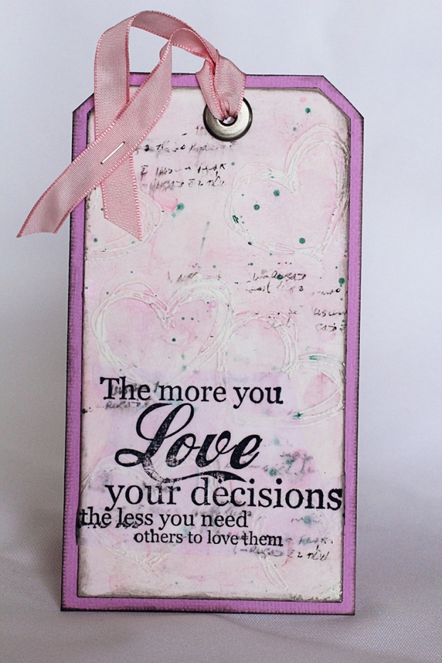 Mixed Media Tag for my DT work at Just Tag It! blog using rubber Dance stamps and Twinkling H2Os from ColourArte