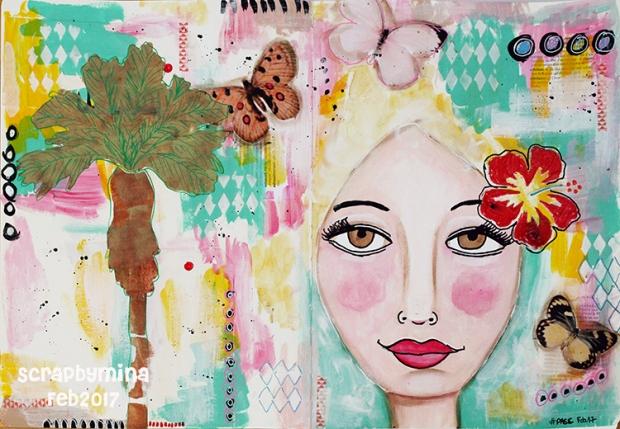 #PASCH0217 Art journal spread by Mina