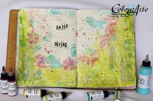 Mixed Media Art Journal for #ColourArteSpringHop