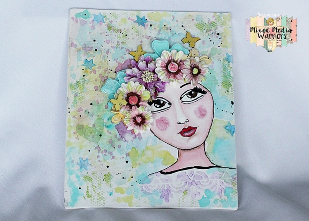 Spring canvas for the march challenge at Mixed Media Warriors