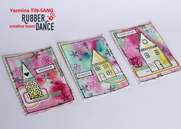 "Mixed Media ATC for Rubber Dance Challenge march 15th ""Everything Spring"""
