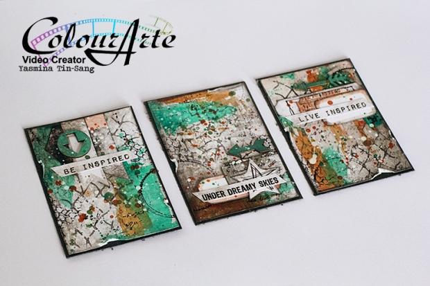 Mixed Media ATC for my DT Work for ColourArte using Silks Acrylic Glaze