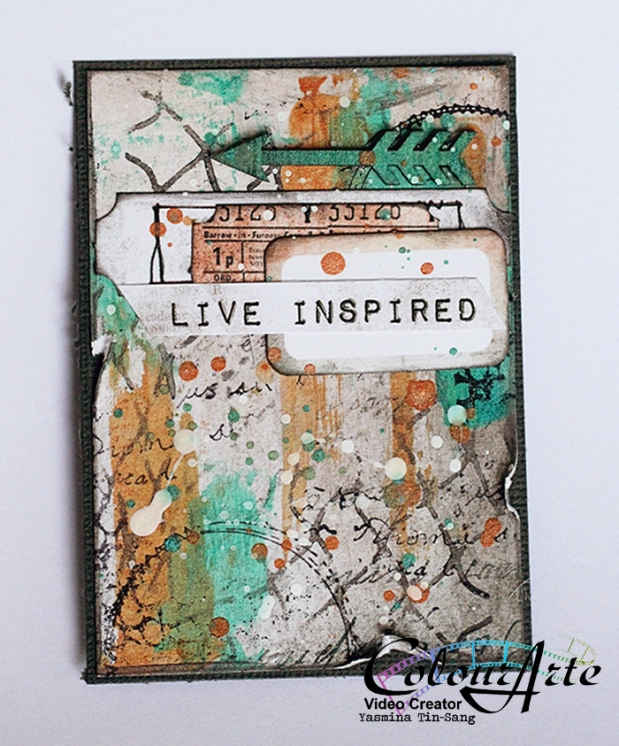 Mixed Media ATC for ColourArte with Silks ACrylic Glaze and 7 Dots Studio Papers