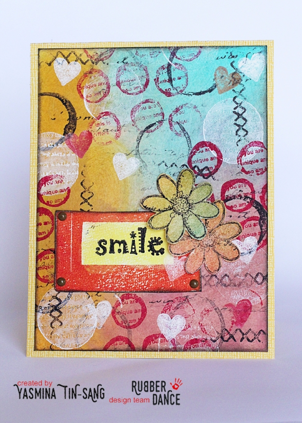 Mixed Media card for Rubber Dance blog hop - March 2017