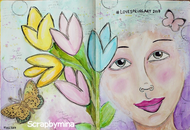 #LoveSpringArt2017 - Art Journal spread by Mina