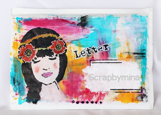 Mail Art with Dylusions Paint and TCW stencils