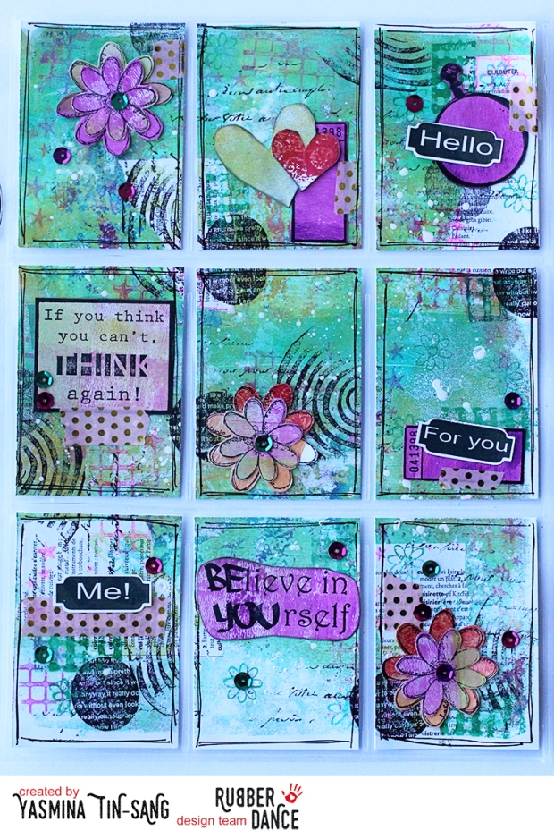 Mixed Media Pocket Letter with Rubber Dance stamps on a Gelli Printed paper