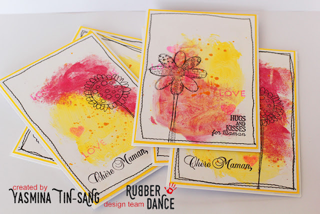 Eassy cards for Mother's Day with Rubber Dance Stamps